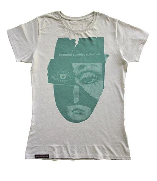 T-shirt mit Kopf-Ausdruck aus der Zombies Collection in grau