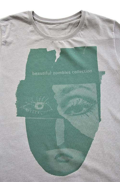 T-shirt zombies collection Druck grün