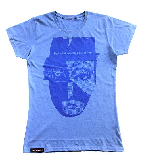 T-shirt blau mit zomie Maske produktansicht