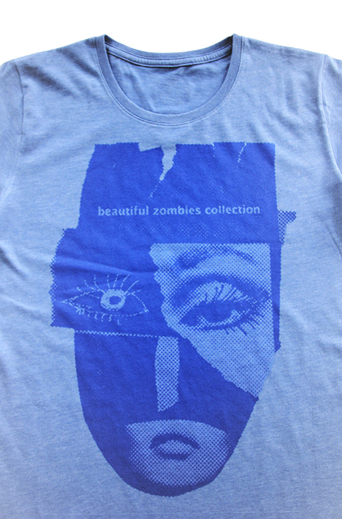 T-shirt blau mit zomie Maske