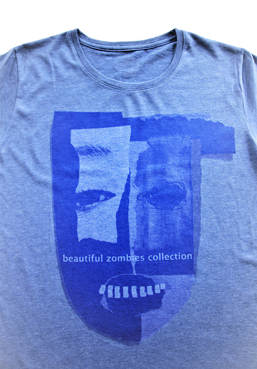 T-shirt blau mit zomie Maske Makroaufnahme