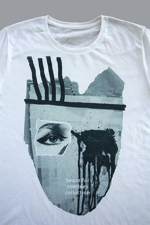 T-shirt schwarz weiß mit zomie Maske