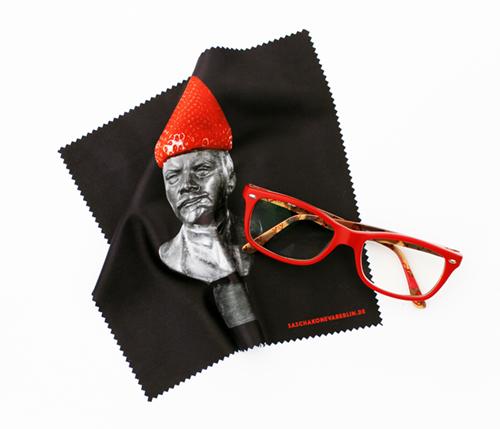 Brillenputztuch mit Lenin und Erdbeere