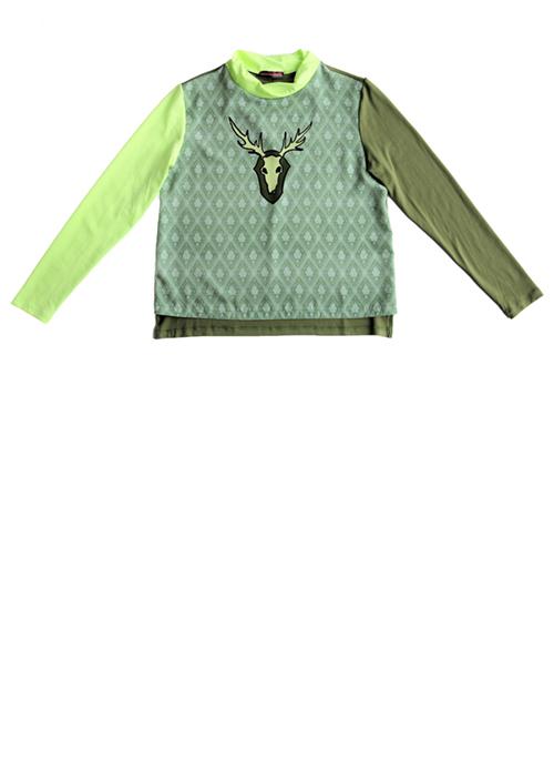 Tapetenbluse mit Hirsch in grün Produktansicht. Mode, Design und Stoff von saschakonevaberlin
