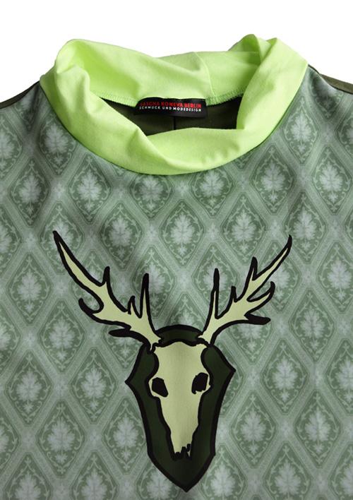 Tapetenbluse mit Hirsch in grün Stoffmuster