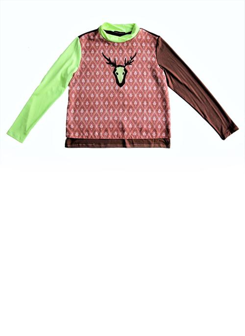 Bluse mitTapetenmuster und Hirschgeweih in braun Produktansicht