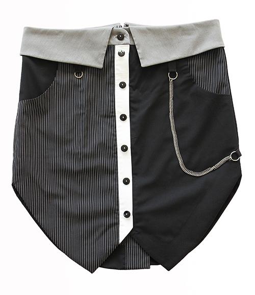 Minirock mit Kragen und durchgeknöpfter Leiste. Mode und Design saschakonevaberlin