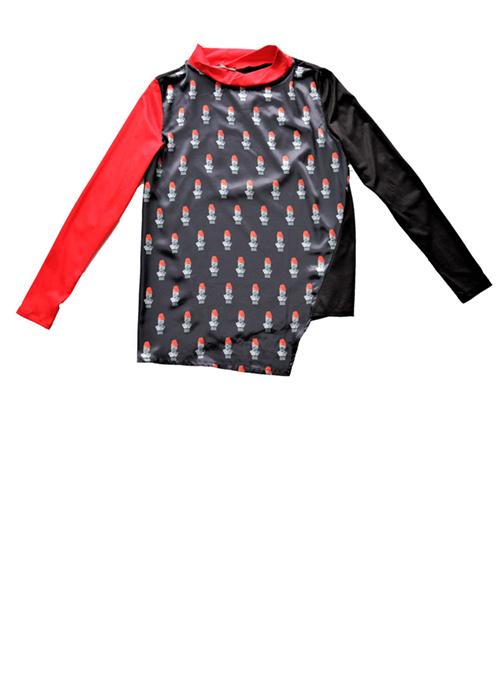Lenin Erdbeere Bluse mit Druck von Vorne. Stoff, Mode und Design saschakonevaberlin