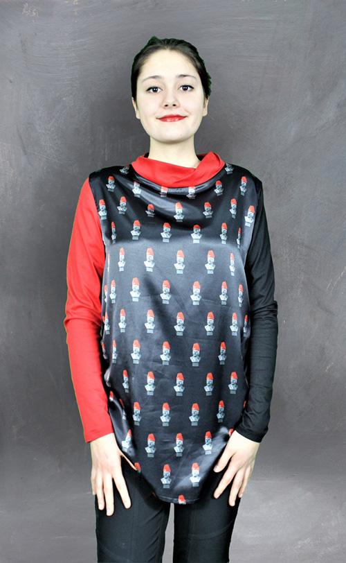 Lenin Erdbeere Bluse Mit Modell Frontal