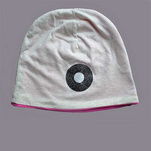 Jersey-Mütze mit pinkem Futter in hellgrau