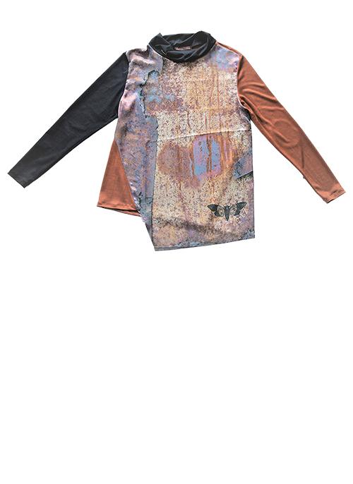 Bluse mit Rost-Print Muster 2 Produktansicht. Mode, Design und Stoff Sascha Koneva Berlin