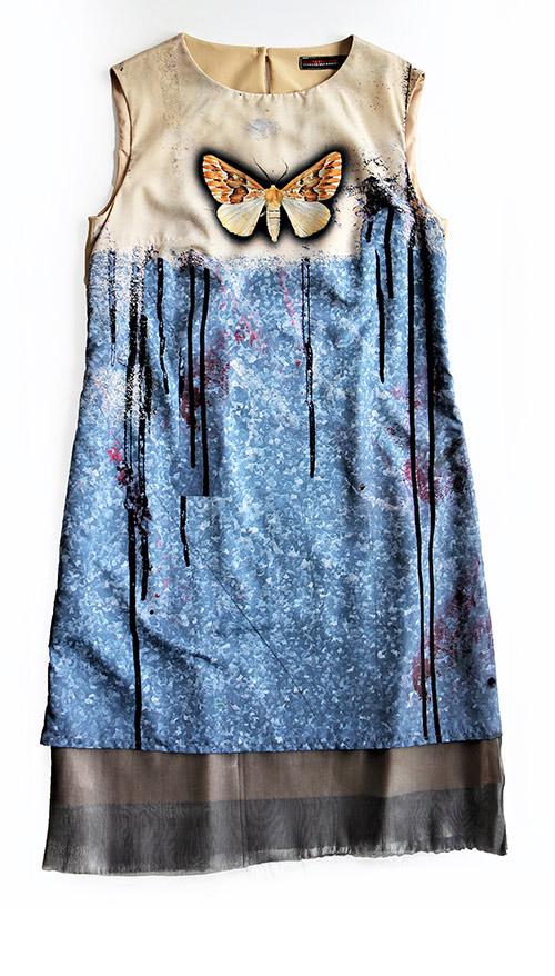 Ärmelloses A-Linien Printkleid. Mode Design saschakonevaberlin