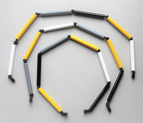 DreiteiligeRöhrenkette im gelb offen