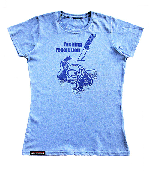 "T-shirt ""Fucking Revolution"" blau Produktansicht"