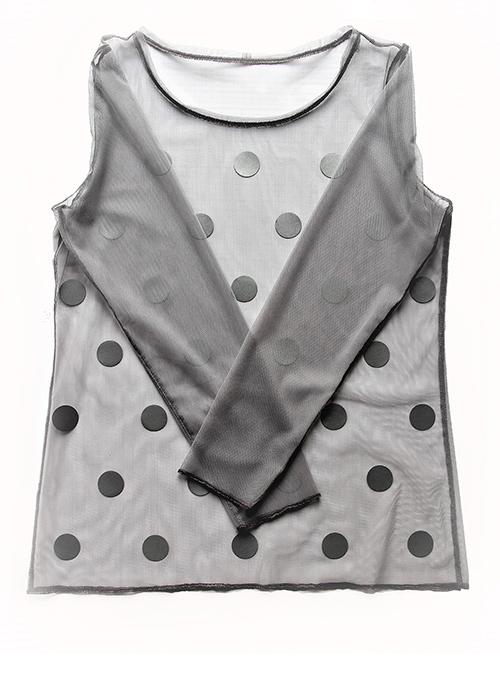 Netz-Shirt mit Punkten in grau