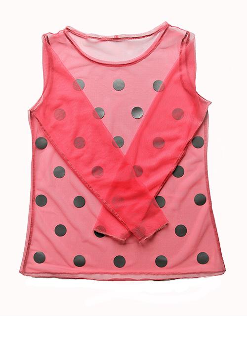 Tüllbluse mit Punkten in rosa
