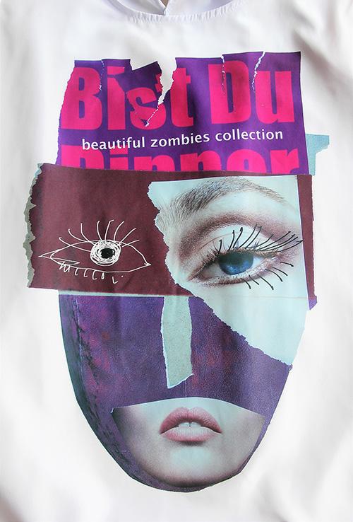 Sommerbluse mit Flügelärmeln motiv 3. Bluse aus Beautiful Zombies Collection . Der Druckmotiv