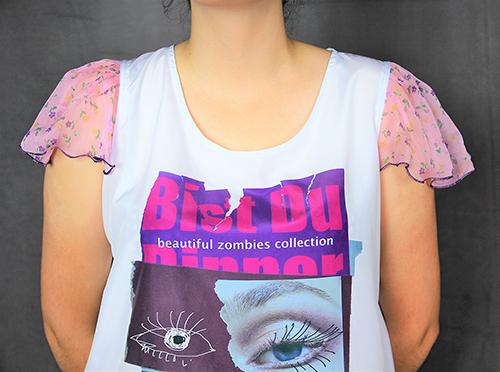 Sommerbluse mit Flügelärmeln motiv 3. Bluse aus Beautiful Zombies Collection mit modell. Ein Ausschnitt