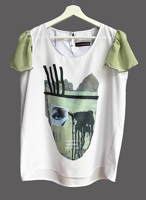 Sommer-Bluse mit Flügelärmeln motiv 4 in olivgrün. Bluse aus Beautiful Zombies Collection. Stoff und Design saschakonevaberlin