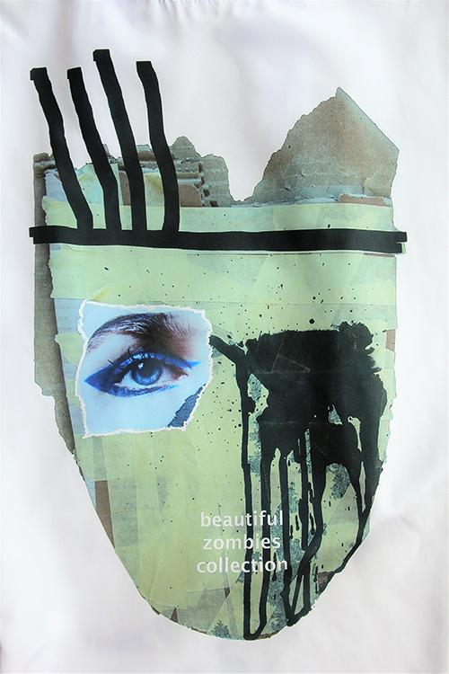 Sommerbluse mit Flügelärmeln motiv 4. Bluse aus Beautiful Zombies Collection. Druckmotiv