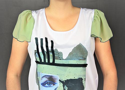 Sommerbluse mit Flügelärmeln motiv 4. Bluse aus Beautiful Zombies Collection mit modell