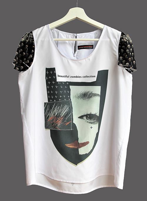 Sommerbluse mit Flügelärmeln motiv 5. Bluse aus Beautiful Zombies Collection. Mode, Stoff und Design von saschakonevaberlin