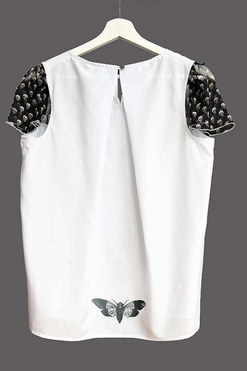 Sommerbluse mit Flügelärmeln motiv 4. Bluse aus Beautiful Zombies Collection von hinten