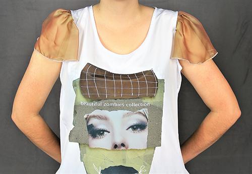 Bluse i mit Flügelärmeln und einen Beautiful Zombies Motiv mit Modell Ausschnitt