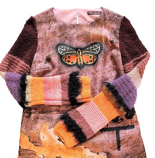 Winterkleid 1 mit Print Und gestrickten Ärmeln