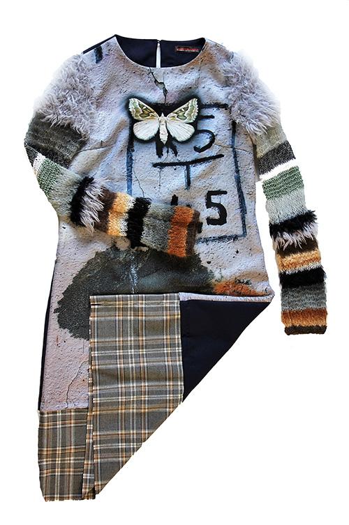 Winterkleid 2 mit Print Und gestrickten Ärmeln als Produkt