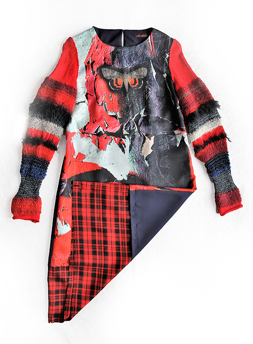 Winterkleid 3 mit Print Und gestrickten Ärmeln als Produkt