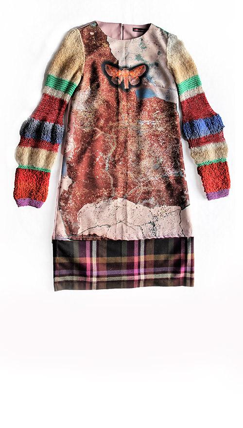 Besonders: Winterkleid mit gestrickten Ärmeln. Mode Design von saschakonevaberlin