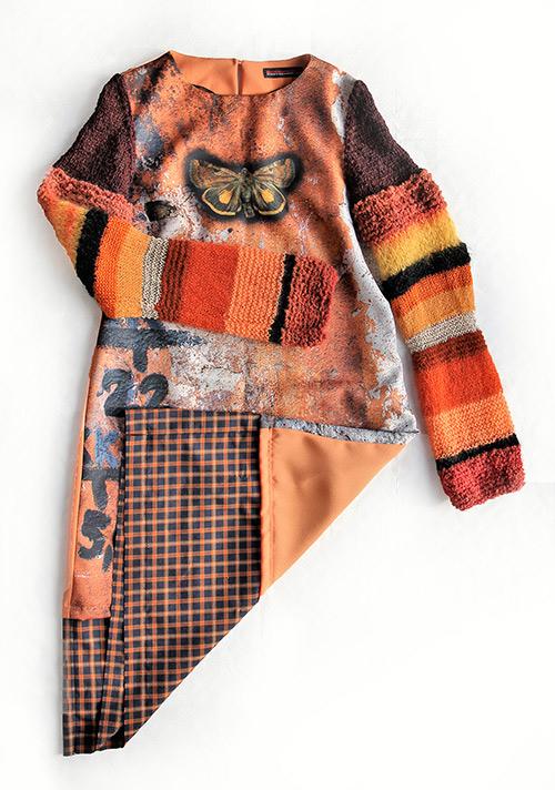 Winterkleid 5 mit Print Und gestrickten Ärmeln als Produkt