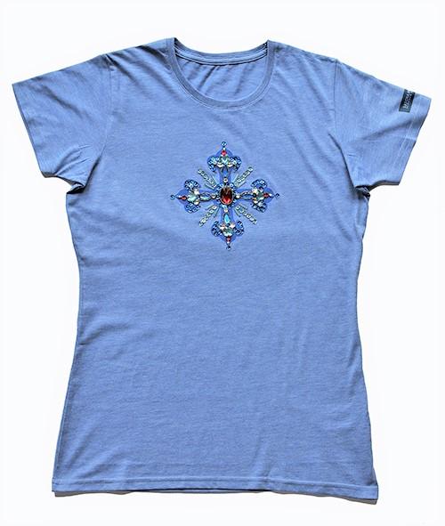 Designershirt in blau mit einem Kreuz