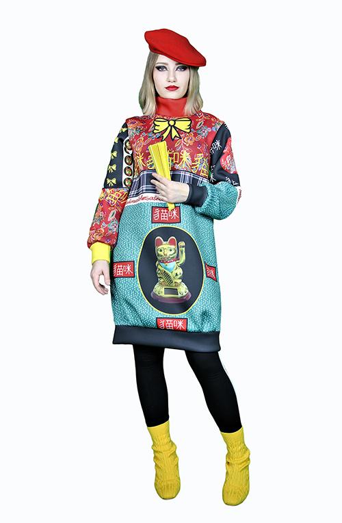 Kleid aus Neopren mit Print