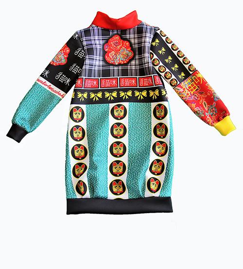Kleid aus Neopren mit Winkekatze